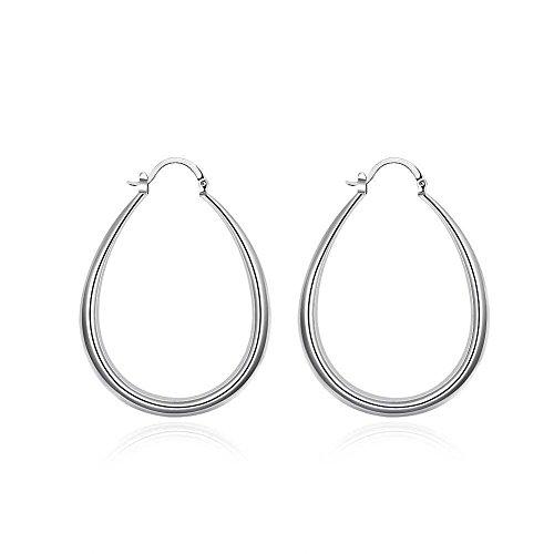 1 Paar Creolen Ohrringe Ohrhänger Ohrschmuck 925er Sterlin Silber Oval - Ohrringe Oval Silber