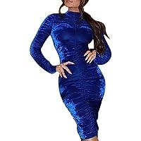 FRAUIT Vestidos de Fiesta de Las Mujeres de Moda Invierno Sólido Suéter Tipo con Cuello de Tortuga Bodycon Fruncido Vestido de Noche Vestido Ajustado de glúteos con cinturón Vestido de Encaje