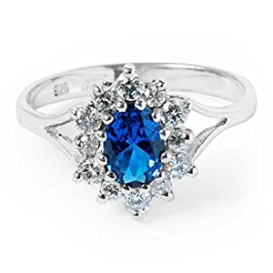 Sterling Silver Cluster Ring with Sapphire and Cubic Zirconias