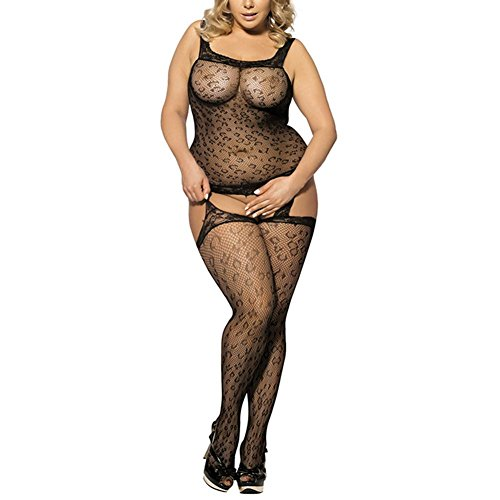 Fxwj Frauen Dessous Bodystocking Plus Size Mesh Hollow Out Open Crotch Floral Lace Bodysuit 2 Farben , Black (Blickdichte Bodystocking Floral Design)