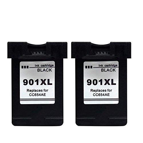 Kyansin 2XL Schwarz/Black Kompatible Druckerpatrone Tinten-Patrone für HP 901 XL OfficeJet J4500 J45600 J4624 J4660 J4680 für CC656AE CC654AE