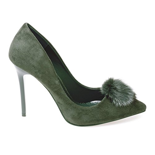 La Modeuse - Escarpins stilettos simili daim Vert