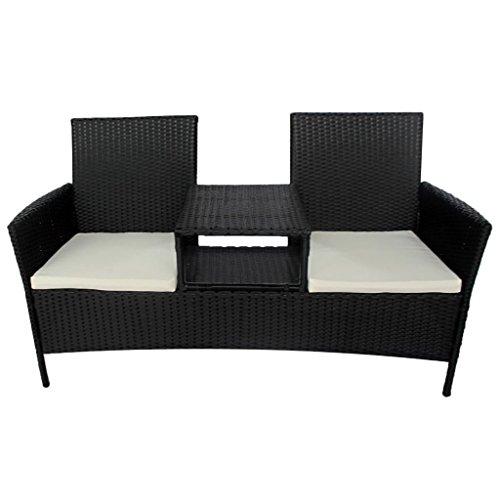 vidaXL Bank mit Teetisch 2-Sitzer Poly Rattan Schwarz Gartenbank Gartenmöbel Set