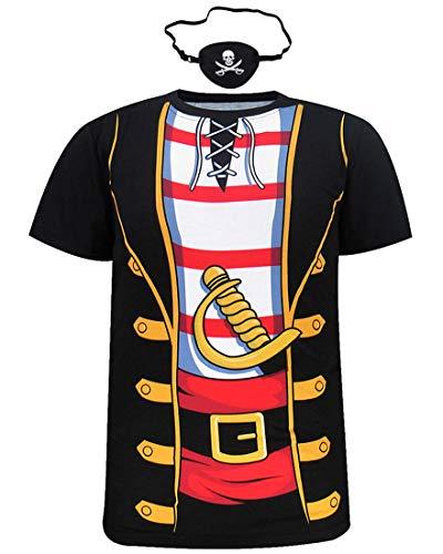 Cosavorock Herren Piraten Kostüm T-Shirts mit Augenklappe (4XL, ()