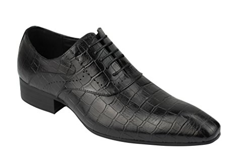 Mens Nero Marrone in vera pelle effetto coccodrillo, con lacci scarpe oxford Smart Casual Dress Black