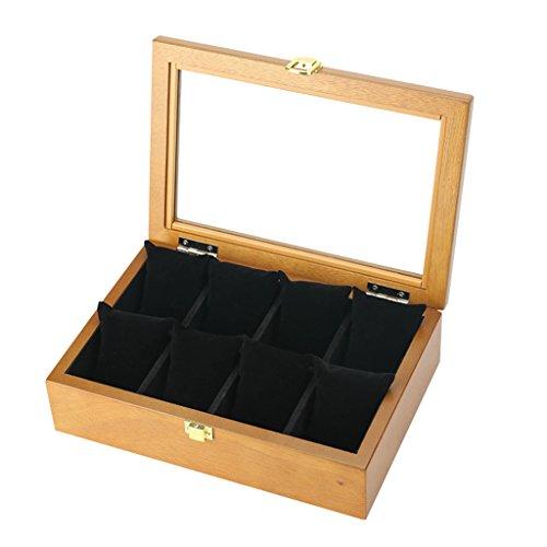 Collection Schwarz Gitter (HGNA-Kästen Organisator beobachten Holz Uhrenbox mit Schloss/Kissen Handgelenk für Männer oder Frauen Glas Deckel Schmuck Armband Display Collection Aufbewahrungskoffer - 8 Gitter (Schwarzes Futter))