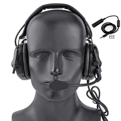 SGOYH Airsoft Paintball Jagdaktivitäten Kopfhörer Wasserdichtes Taktisches Headset mit Mikrofon-Funktionskopfhörer und PTT-Standardstecker (Schwarz)