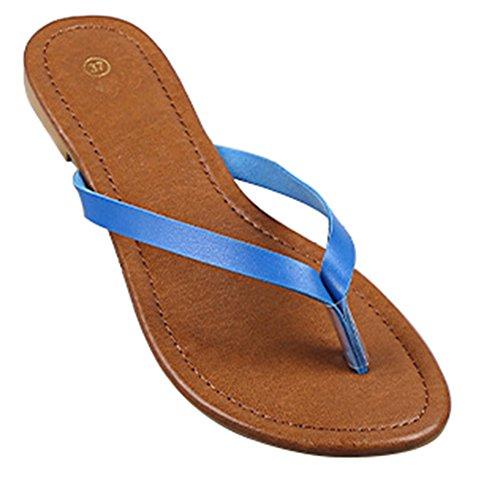 Wealsex damen Flip Flops Klassik Zehentrenner Blau