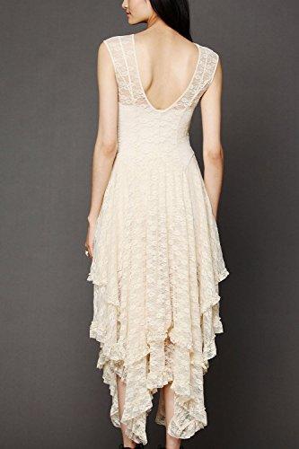 Senza maniche in pizzo irregolare lungo Swing Party Dress donne apricot