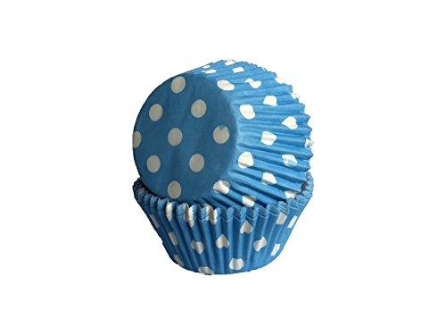 Muffinförmchen, blau weiß gepunktet