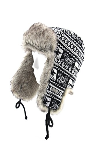Fell Winter Wolle Blend Kabel Knit Kunstfell Aviator Bomber Trapper Trooper Pilot Ski Hat Gr. S/M, Schwarz - Reindeer-Black (Bomber Trapper)