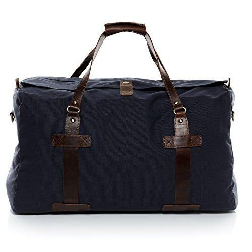 Scotch-Vain-bolso-de-viaje-CHASE-piel-genuina-azul-cartera-estilo-weekender-XL-bolso-de-deporte-para-65-x-35-x-30-cm