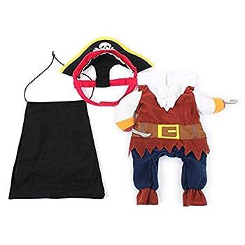 Pixnor Animal chat chien vêtements Costume Robe Pirate costume vêtement avec chapeau Taille S