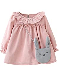Mitlfuny Invierno Primavera Niñas Algodón Princesa Vestido de Manga Larga Conejo Collar de Hoja Loto Bautizo Boda Fiesta Boda Plisada Faldas para Niños Bebé de Ropa Recien Nacido 0-3 Años
