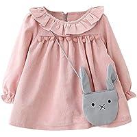 ASHOP Vestidos de Princesa 2019 Tutú Faldes de Fiesta Collar de Hoja de Loto Vestido T-Shirt Manga Larga Algodón Casual Niñas 0-3 Años