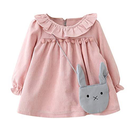 MRULIC Baby Mädchen langärmelige Lotusblatt-Kragen-Tasche Princess Dress Pullover Outfits Winteranzug Kinder Baby Mädchen Gestreifte Prinzessin Kleid(Rosa,Höhe:75-80cn)