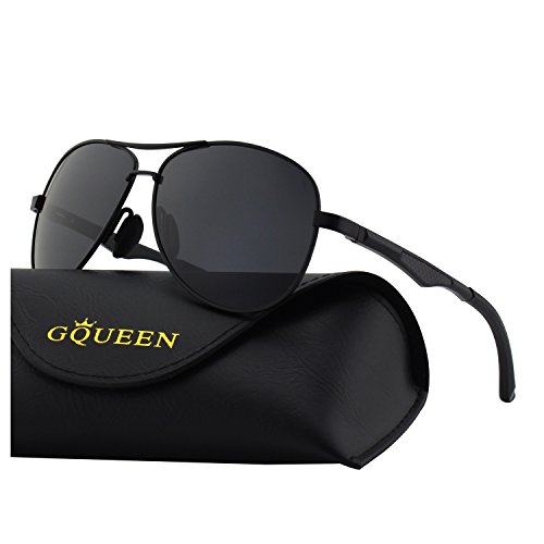 GQUEEN Premium Federscharnieren Al-Mg Pilotenbrille Polarisierte Sonnenbrille MOS1