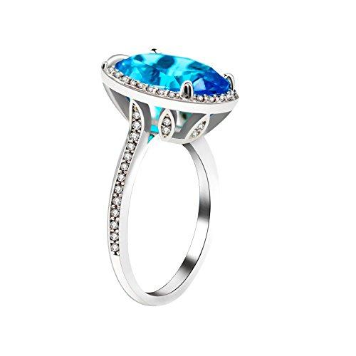 Uloveido Pretty Oval Cut Big Blue Zirkonia Hochzeit Versprechen Solitaire Ring mit klaren Zirkon Steinen Simulierte Topaz Geburt Stein Ringgröße 57 (18.1) RJ214
