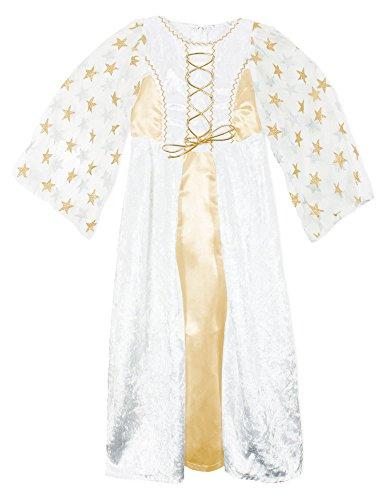 Engel Lea Kostüm mit Sternen für Mädchen - Weiß Gold - Gr. 152 (Weiß Und Gold Engel Kostüm)