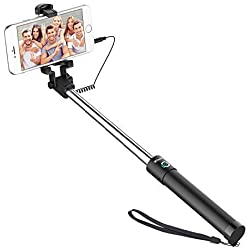 JETech Perche à selfie, Bâton Réglable Télescopique, avec l'adapteur de montage, Sans Pile Sans Bluetooth