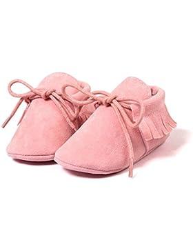 Hongfei Zapatos de cuna para mocasines para bebés Borlas Zapatos de cordones con suela blanda para bebés y niños...