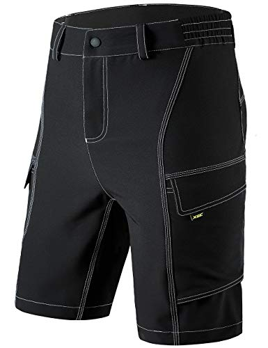 XGC Herren Radhose Radlerhose Fahrradhose,Atmungsaktiv Sports MTB Kurz Hose für Männer (Black, L)