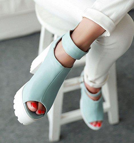Aisun Femme Sexy Lanière Boucle Plateforme Chunky Sandales Bleu