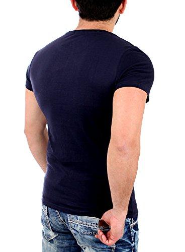 Reslad T-Shirt Herren PASADENA Motiv Print Kurzarm Shirt RS-2045 Navyblau