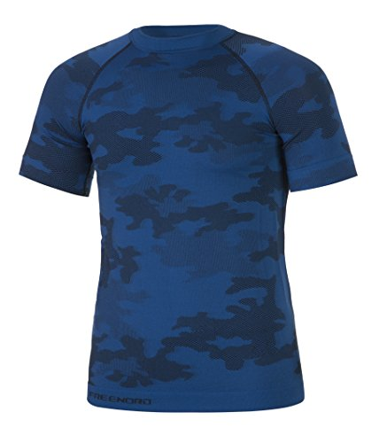 Freenord Tactical Herren Funktionswäsche Thermoaktiv Atmungsaktiv Base Layer Kurzarm Moro Military Angeln (Blau, L)