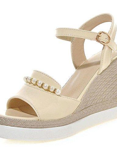 UWSZZ IL Sandali eleganti comfort Scarpe Donna-Sandali-Formale / Casual-Spuntate / Con cinghia-Zeppa-Finta pelle-Nero / Rosa / Bianco / Beige Pink