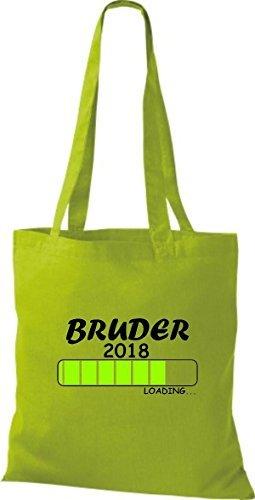 ShirtInStyle Stoffbeutel Baumwolltasche BRUDER 2018 Loading Geburt Geschenk Kiwi