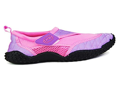 - 41B6TNZu3OL - Nalu Velcro Aqua Surf / Beach / Wetsuit Shoes (UK 7 / EU 41, Pink with Lilac Trim)