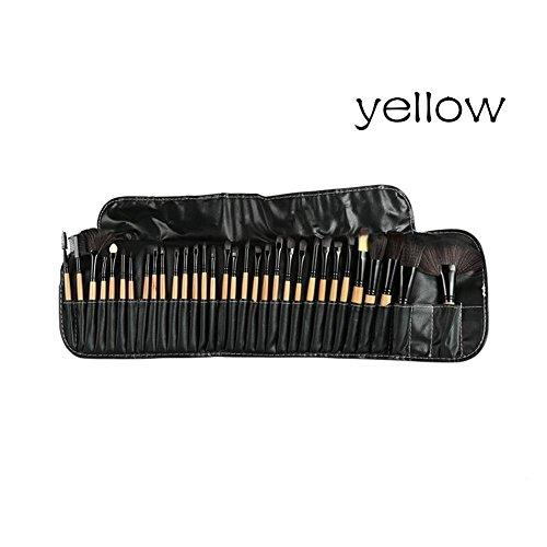 GSTONE ensemble pinceau à lèvres 32pcs pinceaux de maquillage professionnel doux cosmétiques maquillage pinceau ensemble Kabuki pinceau fondation rouge à lèvres beauté outils (jaune)