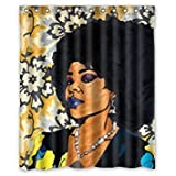 60 x 72 Clean and Classic Fashion African Women Dam Images Art Background Waterproof Shower Curtain/Bath Decor Easily Washable Dries Fast by Mr Kill African Shower Curtain