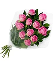 The FloralMart Premium Fresh Flower Bunch of Roses in Cellophane Wrapping || TFM Gifts