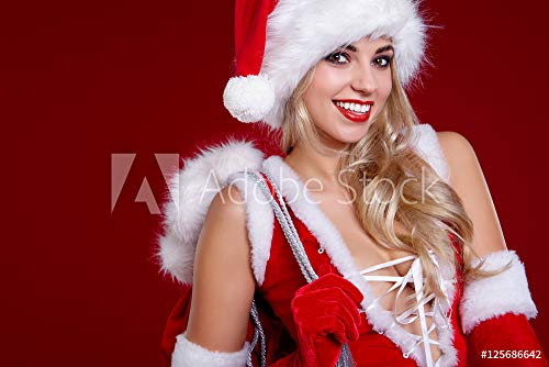 otiv: Young Girl in Christmas Outfit. Woman with Ribbon Box Gift. Sant #125686642 - Bild als Klebe-Folie - 3:2-60 x 40 cm / 40 x 60 cm ()