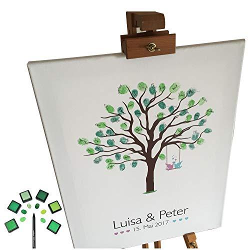 KATINGA Personalisierte Leinwand zur Hochzeit - Motiv Baum - als Gästebuch für Fingerabdrücke (40x50cm, inkl. Stift + 6 Stempelkissen) ... (Personalisierte Hochzeit Gästebuch)