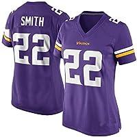 Rugby Jersey de Las Mujeres, Smith # 22 de Minnesota Vikings Equipo, Tech Transpirable de algodón Camiseta del Jersey, Grandes Muchachos Pro Rugby Traje (Color : Purple, Size : XXL)