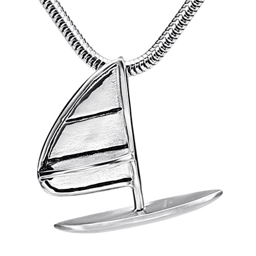 mens-stainless-steel-yacht-shape-silver-fashion-pendant-necklace-34x31cm