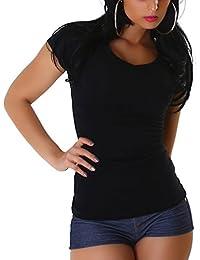Jela London Damen Basic T-Shirt Slim-Fit Rundhals / V-Ausschnitt Longshirt Kurzarm einfarbig