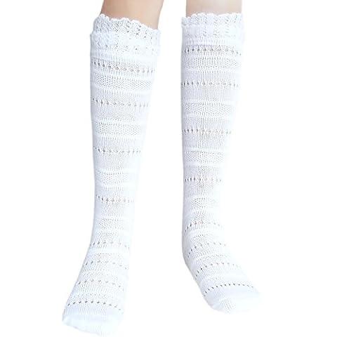 Mädchen nahtlose Pointelle Kniestrümpfe mit weichem Rüschen für empfindliche Füße