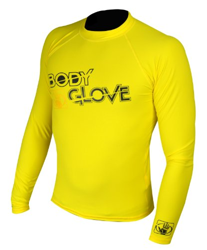 Bodyglove Body Glove Rash Guard Basic Kinder Shirt Gelb L/A Langarm Schwimmen Longsleeve Lycra T- Shirt (Gr. 12/36-40kg / 152-160cm) -