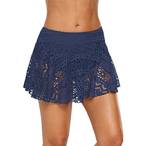 VJGOAL Damen Sommer Mode Volltonfarbe Spitze Seaside Urlaub Strand Hosen Häkeln Sie Rocked Bikini Bottom Badeanzug Short Skort Swim Skirt
