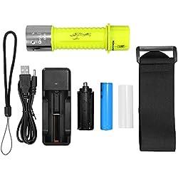 Oxyled DF20 Lampe de poche CREE LED pour plongée sous-marine rechargeable et étanche IPX8avec batterie et port USB 500lumens