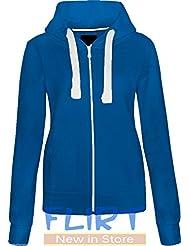 Womens Plus Size Hoodie Hooded Zipper Top SweatShirt Jacket Sweater 16 18 20 22 AMERICAN HOODY FLIRTYWARDROBE