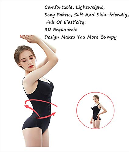 HONGMEI Damen Basic Bodysuit Tops Feste Kontrolle Stretch Shapewear Sexy Unterwäsche Low Neck Body Shaper Slim Unterwäsche,XL - 2
