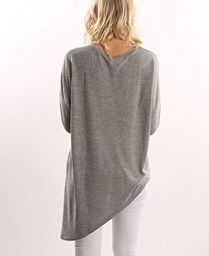 Sentao Donna Moda T-shirt Stampa Manica Lunga Allentata Casuale Camicetta Maglietta Stile 2