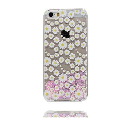 iPhone 5S Coque, iPhone 5 5C 5G étui, [Bling Bling Glitter Fluide Liquide Sparkles Sables Donut] iPhone SE Case, iPhone 5 Cover, Shell-(beignet ), anti- chocs & ring Support de téléphone Marguerites