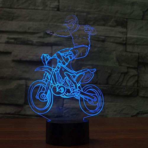 Qingtianlove Nachttischlampen Langlauf Motorcyc 3D Led Nachtlicht Farbwechsel Lampe 3D Deco Vision Schreibtisch Led Usb Baby Schlaflampe