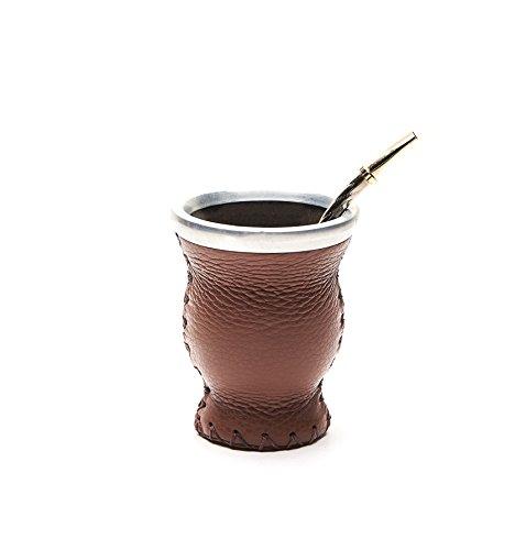 Mate et feuille de verre avec bombilla (sorbete) (marron)